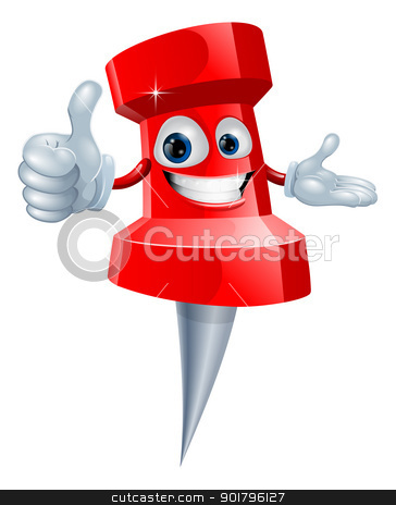 Drawing pin man stock vector clipart, Cartoon red drawing pin man smiling and giving a thumbs up by Christos Georghiou