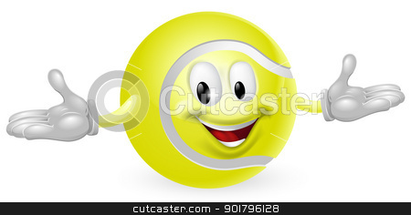Tennis Ball Man stock vector clipart, Illustration of a cute happy tennis ball mascot man by Christos Georghiou