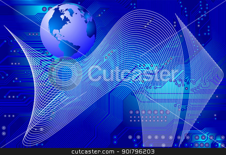 global communication - vector stock vector clipart, Abstract image - technology abstract - global communication by Siloto