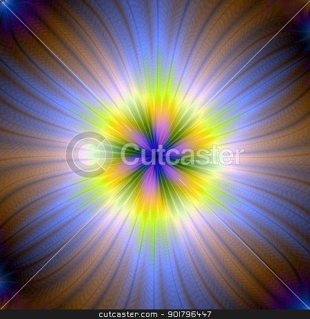 Star Burst in Yellow and Blue stock photo, Computer generated abstract image with a sun burst design in blue, yellow and pink. by Colin Forrest