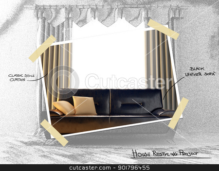 House restyling project stock photo, Dark brown leather modern sofa for restyling house project by Giordano Aita
