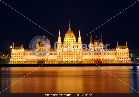 Budapest Parliament stock photo, Budapest Parliament at night with reflection in Danube river by Ioan Panaite