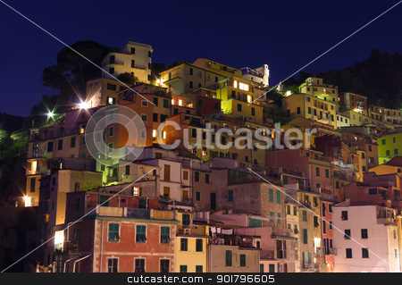 Riomaggiore buildings at night stock photo, traditional gouses  in Riomaggiore, Cinque Terre, Italy by Ioan Panaite