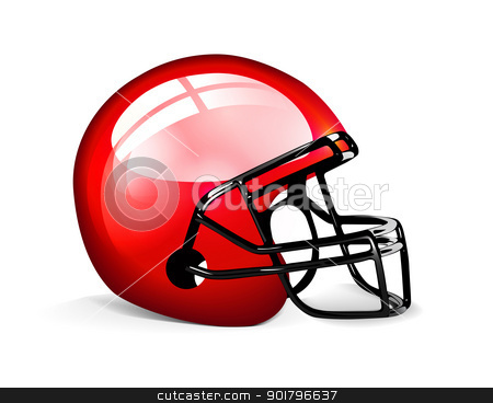 Red football helmet stock photo, Red football helmet isolated over white background by sermax55