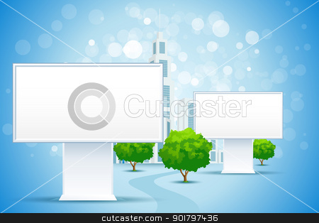 Billboard City stock vector clipart, Blue Business Background with City and Blank Billbord Signs by Vadym Nechyporenko