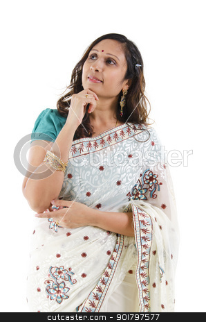 Thought stock photo, Beautiful Indian woman having a thought, isolated white background by szefei