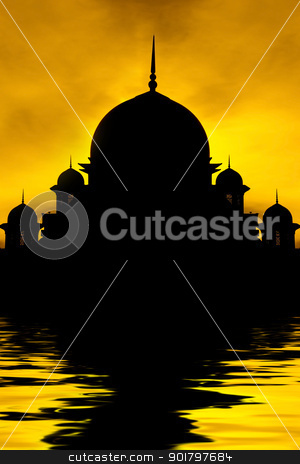 Silhouette of a mosque stock photo, Silhouette of a mosque in sunset with water reflection by szefei