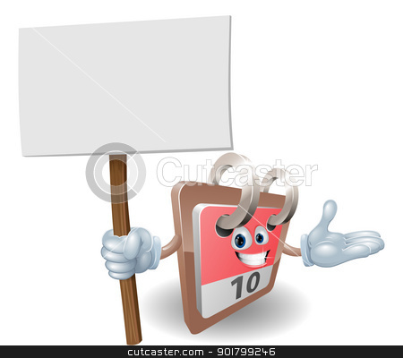 Cute calendar character holding a sign stock vector clipart, Cute calendar cartoon character holding a sign post  by Christos Georghiou