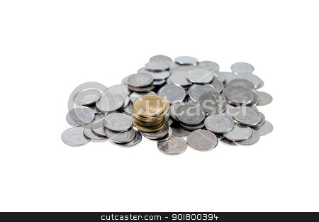 Money coins thai bath on isolate stock photo, money Coins thai bath on white background by moggara12