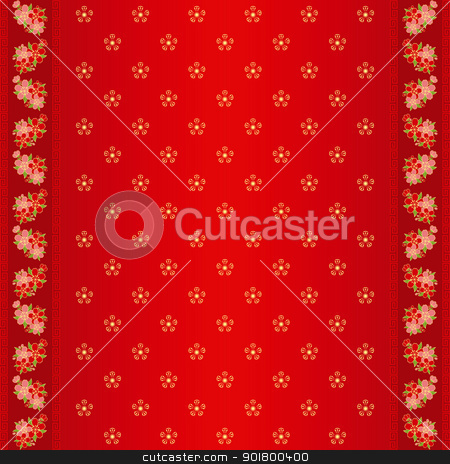 Oriental Chinese seamless pattern and ornate frame stock vector clipart, Oriental Chinese New Year cherry blossom seamless pattern and ornate frame by meikis