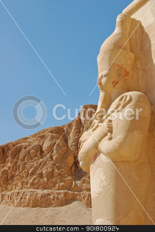 Hatshepsut temple  stock photo, Hatshepsut statue in temple at Deir-el-Bahri, Egypt  by boonsom