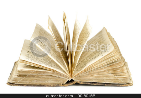 Bible stock photo, An old Bible (19th century) over the white background by Sergej Razvodovskij