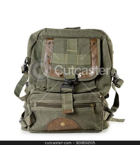 Backpack stock photo, Old tarpaulin backpack over the white background by Sergej Razvodovskij