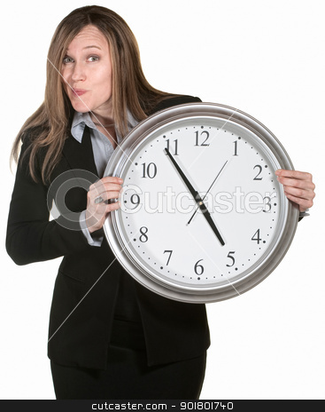 Businesswoman With Big Clock stock photo, Woman making faces and holding a large analog clock  by Scott Griessel