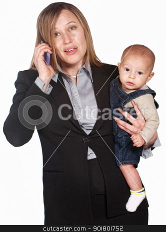 Frustrated Lady on Phone with Baby stock photo, Pretty businesswoman with baby over white background by Scott Griessel