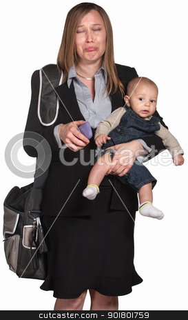 Sad Professional Woman With Baby stock photo, Crying professional lady with phone and baby in arms by Scott Griessel
