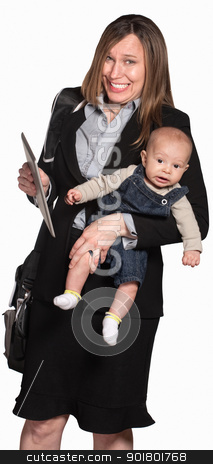 Working Mother With Baby stock photo, Happy businesswoman with baby over white background by Scott Griessel