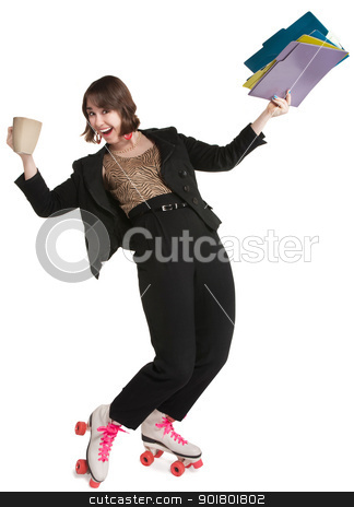 Office Worker in Skates stock photo, Office worker with pink roller skates and coffee mug by Scott Griessel