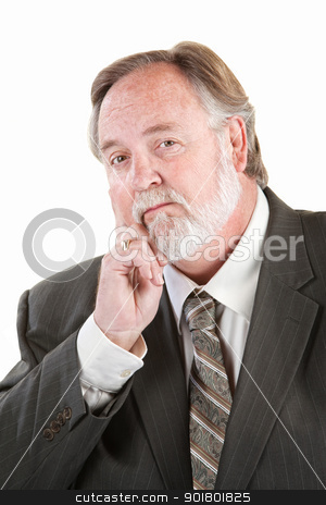 Adult man with hand on chin stock photo, Single mature man with hand on chin by Scott Griessel