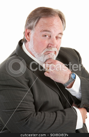 Easygoing man with beard stock photo, Easygoing mature man with beard over white background by Scott Griessel