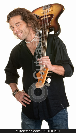 Cute Guitarist stock photo, Easygoing white male holds a guitar over his shoulder by Scott Griessel