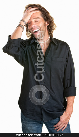 Attractive Man Laughing stock photo, Cute Caucasian man in black shirt laughing by Scott Griessel