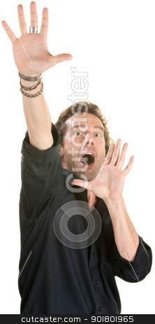 Scared Man Reaching stock photo, Scared man reaching up over white background by Scott Griessel