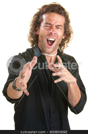 Handsome Man in Black stock photo, Excited European man reaches out over white background by Scott Griessel