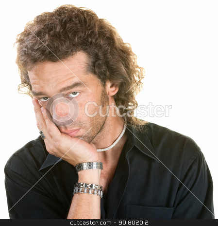 Bored Man stock photo, Bored young Caucasian male with hand on face by Scott Griessel