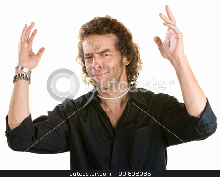 Man with Hands in the Air stock photo, Frustrated young male with hands in the air by Scott Griessel