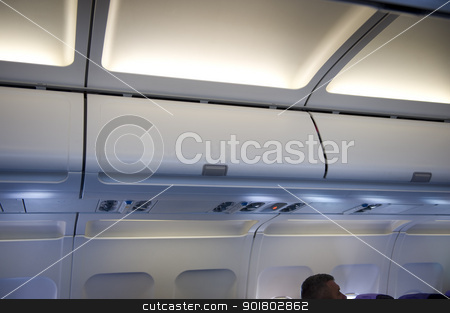 overhead locker aeroplane stock photo, aeroplane locker overhead stowage by Lee Avison