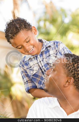 Happy Mixed Race Father and Son Playing stock photo, Happy Mixed Race Father and Son Playing in the Park. by Andy Dean