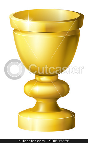 Golden cup grail or goblet stock vector clipart, Illustration of a shiny golden cup grail or goblet by Christos Georghiou