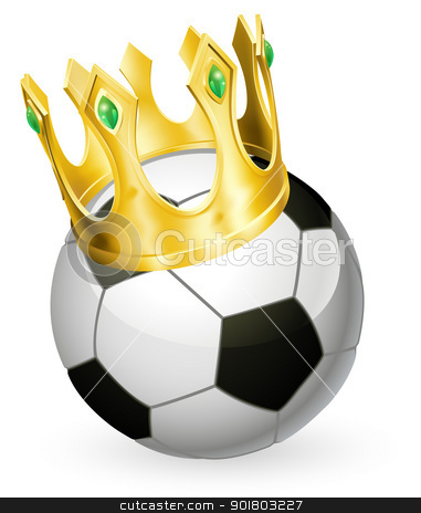 King of football soccer stock vector clipart, King of soccer concept, a football soccer ball wearing a gold crown by Christos Georghiou