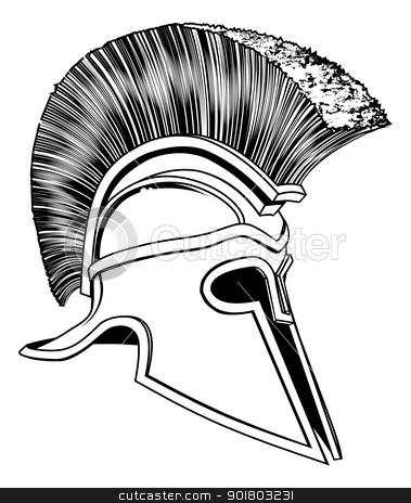 Black and White Trojan Helmet stock vector clipart, Graphic of a bronze Trojan Helmet, Spartan helmet, Roman helmet or Greek helmet. Corinthian style. by Christos Georghiou