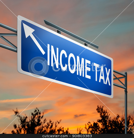 Tax concept. stock photo, Illustration depicting a highway gantry sign with a tax concept. Sunset sky background. by Samantha Craddock