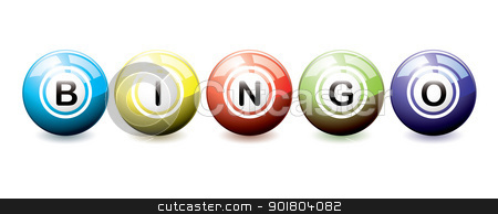 Bingo balls stock vector clipart, Brightly coloured bingo balls with light reflection by Michael Travers