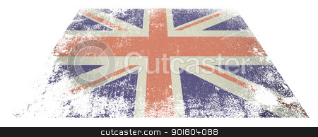 British flag flat stock vector clipart, Red white and blue british flag laying flat on white background by Michael Travers