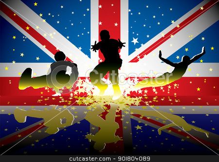 British flag sports figures stock vector clipart, Sports people with british flag and reflection with exploding stars by Michael Travers