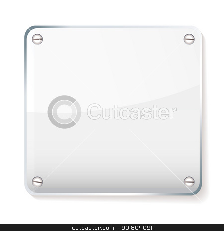 Glass company name plate stock vector clipart, Copy space for your company name on glass plate with shadow by Michael Travers
