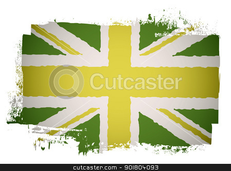 Green british flag stock vector clipart, Green and yellow grunge british flag with a twist by Michael Travers