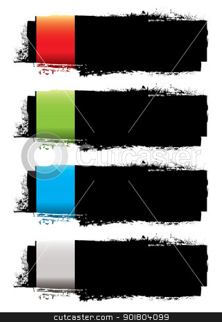 Grunge banner strip stock vector clipart, Abstract grunge ink banner with colorful elements and copy space by Michael Travers
