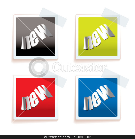 New paper tag stock vector clipart, Paper tag with new icon and drop shadow by Michael Travers