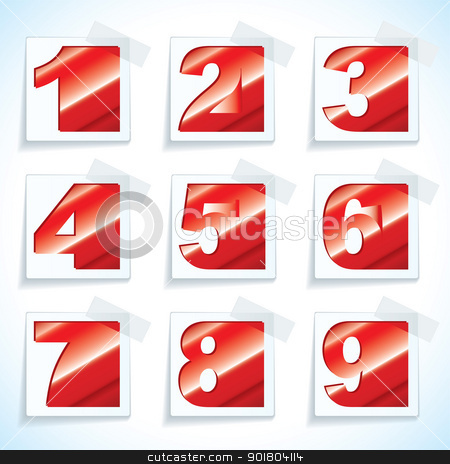 Number paper red tags stock vector clipart, Collection of nine red numbers on white paper tags with drop shadow by Michael Travers