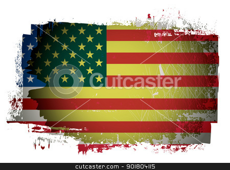 Old American flag stock vector clipart, Old grunge american or united states of america flag by Michael Travers
