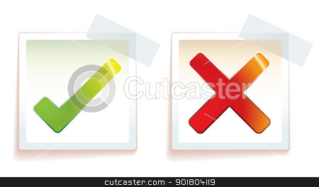 Right wrong stock vector clipart, Tick and cross icon with stick tape on paper by Michael Travers