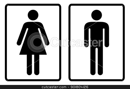 Toilte symbols outline stock vector clipart, Simple black and white male and female toilet symbols by Michael Travers