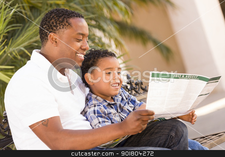 Mixed Race Father and Son Reading Park Brochure Outside stock photo, Happy African American Father and Mixed Race Son Having Fun Reading Park Brochure Outside. by Andy Dean
