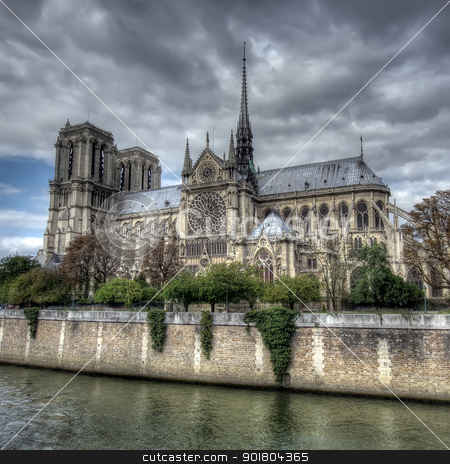 Notre Dame cathedral stock photo, dark scene of Notre Dame cathedral, Paris by Ioan Panaite