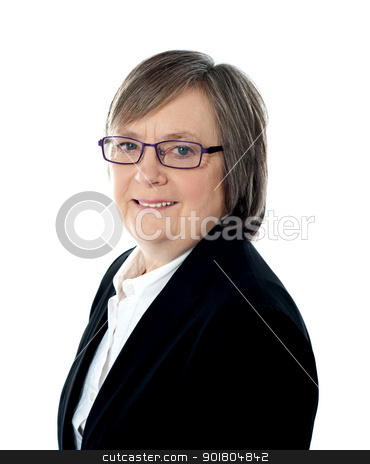 Corporate woman posing in front of camera stock photo, Corporate woman posing in front of camera wearing glasses by Ishay Botbol